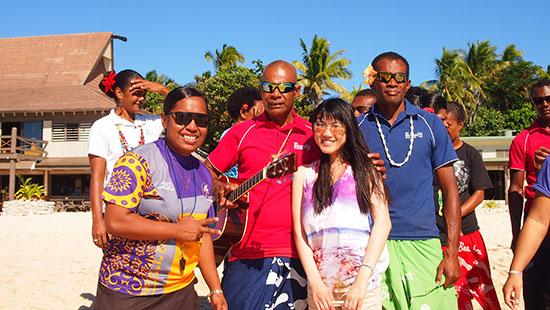 Locals in Beachcomber Island, Fiji.