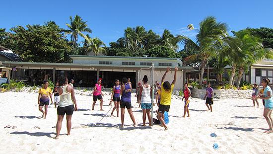 Playing Volley Ball at Beachcomber Island