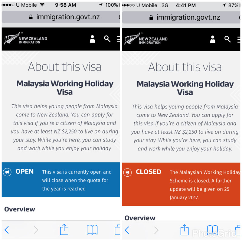New Zealand Working Holiday Visa for Malaysian in 2017