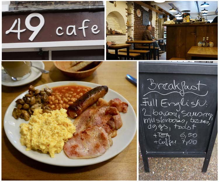 Having a full English Breakfast at 49 Cafe